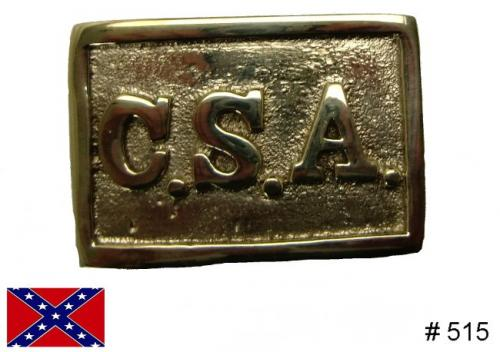 BT515 - Standard Confederate States of America [C.S.A] rectangular solid brass buckle with hooks on back for fastening to belt - EN STOCK